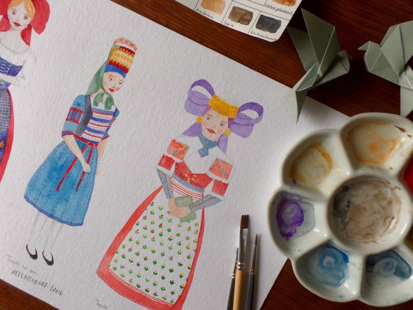 Trachten Illustration Aquarell, Heritage Cloth Watercolor