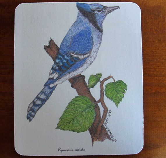 """Mouse Pad with Original Pen and Ink Drawing of Blue Jay -""""Cyanocitta cristata"""","""