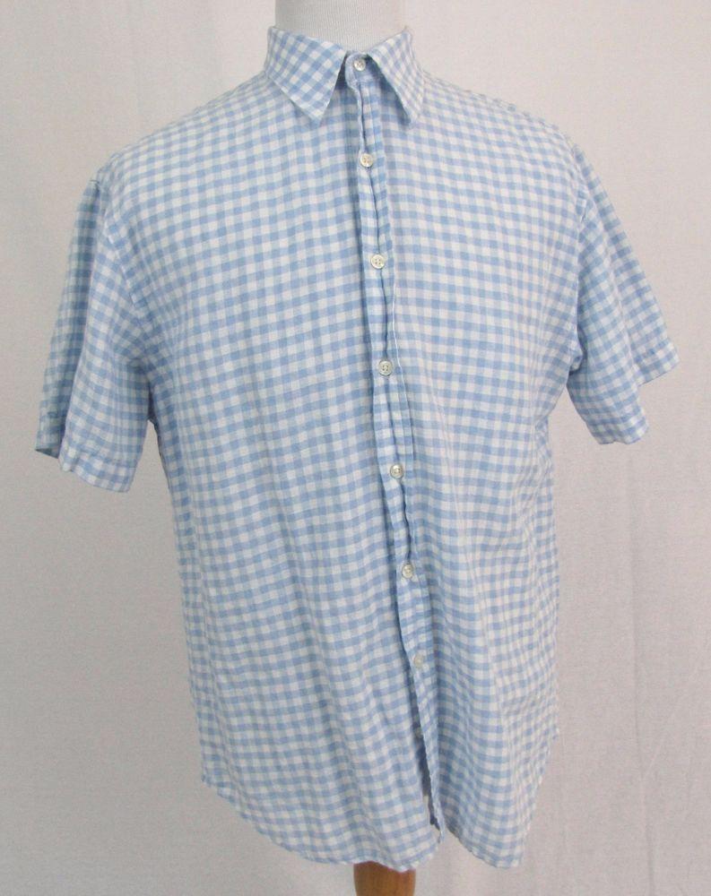 Flannel shirt with shorts men  Robert Graham RuG Shirt XL Blue Tattersall Plaid Lightweight Cotton