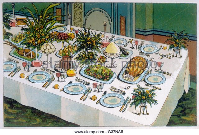 A SUPPER TABLE Date circa 1890 - Stock Image & A SUPPER TABLE Date: circa 1890 - Stock Image | recepción ...