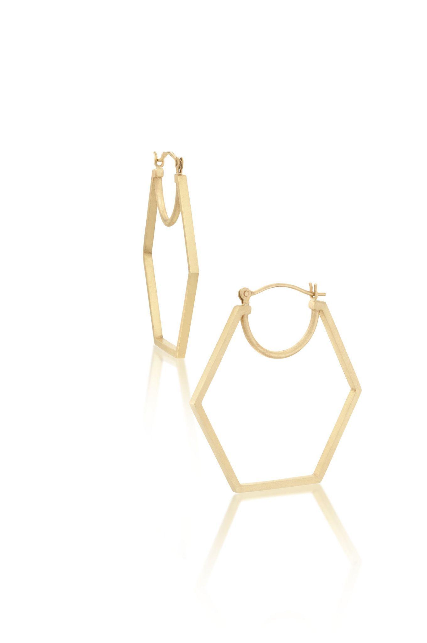 14k Gold Hexagon Hoop Earrings