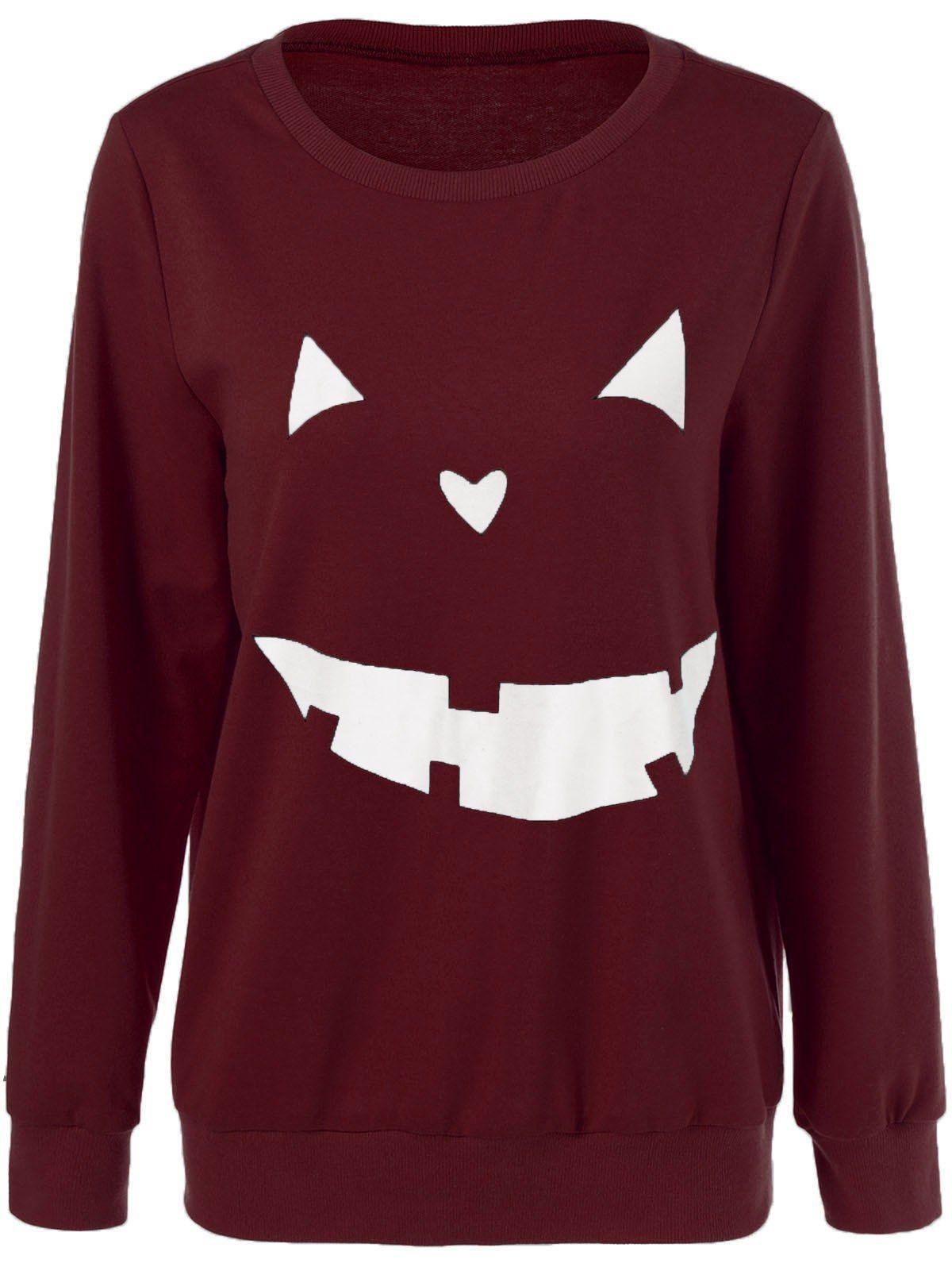 Only 969 For Halloween Grimace Sweatshirt In Wine Red Sammydress