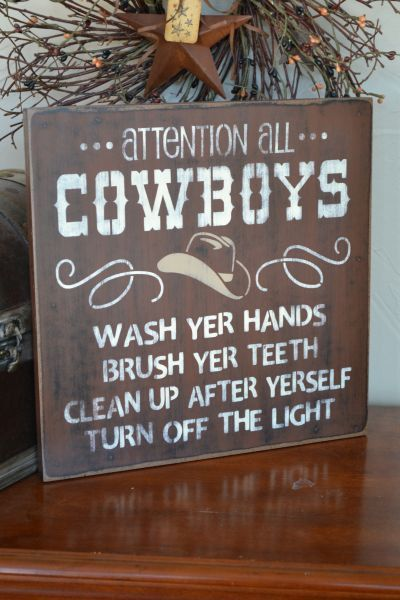 Captivating Attention All Cowboys Bathroom By CreativeTouchWood, $20.95