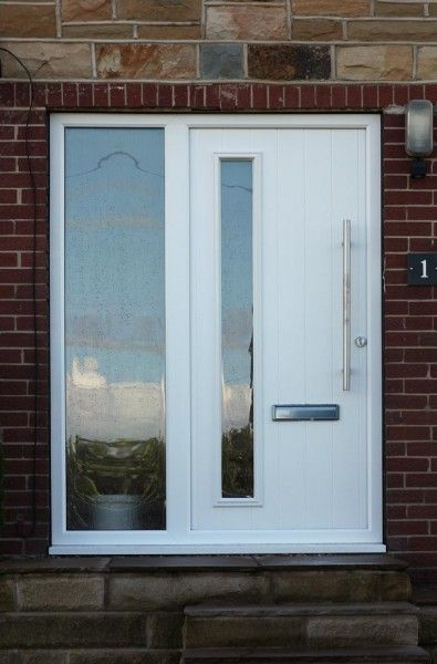 Brescia Composite Door In White With Frosted Cotswold