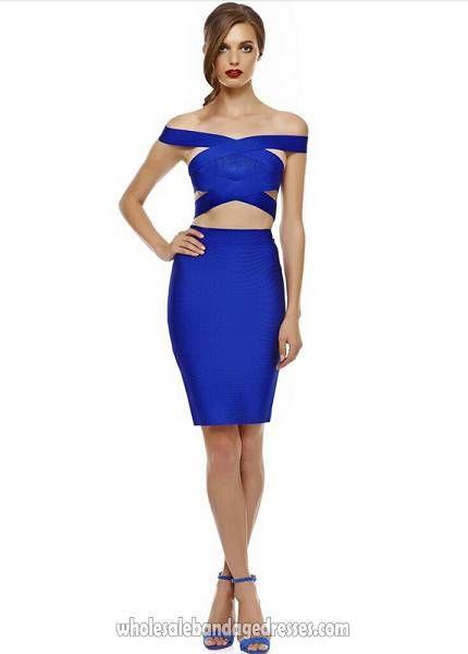 Luxury Herve Leger Off Shoulder Bandage Dress Evening Party Dresses Two Piece Blue WBDH140213