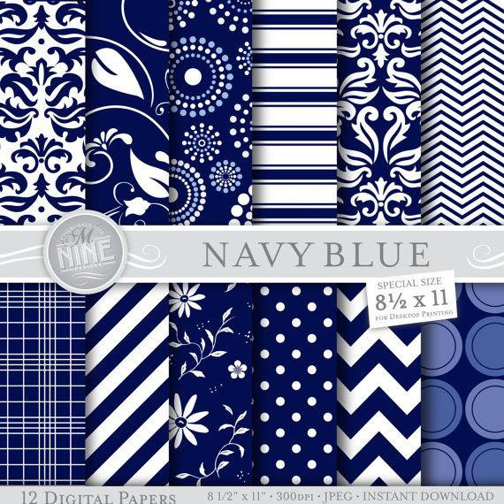Navy Blue Digital Paper Navy Blue Printable Pattern Print Etsy Blue Scrapbook Digital Paper Blue Background Patterns