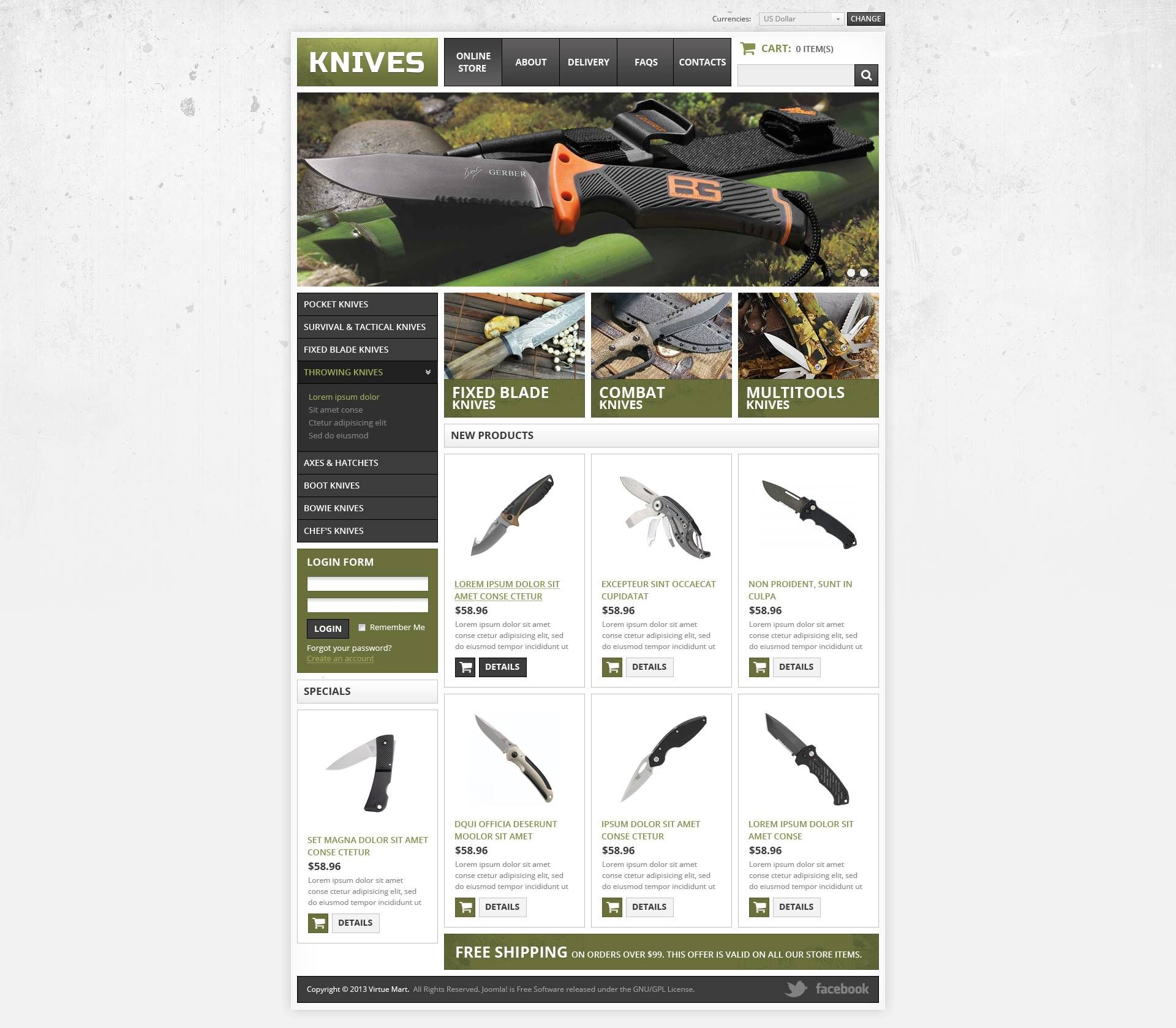 Knives Virtuemart Template 45228 Web Design Websites Web Design Quotes Portfolio Web Design