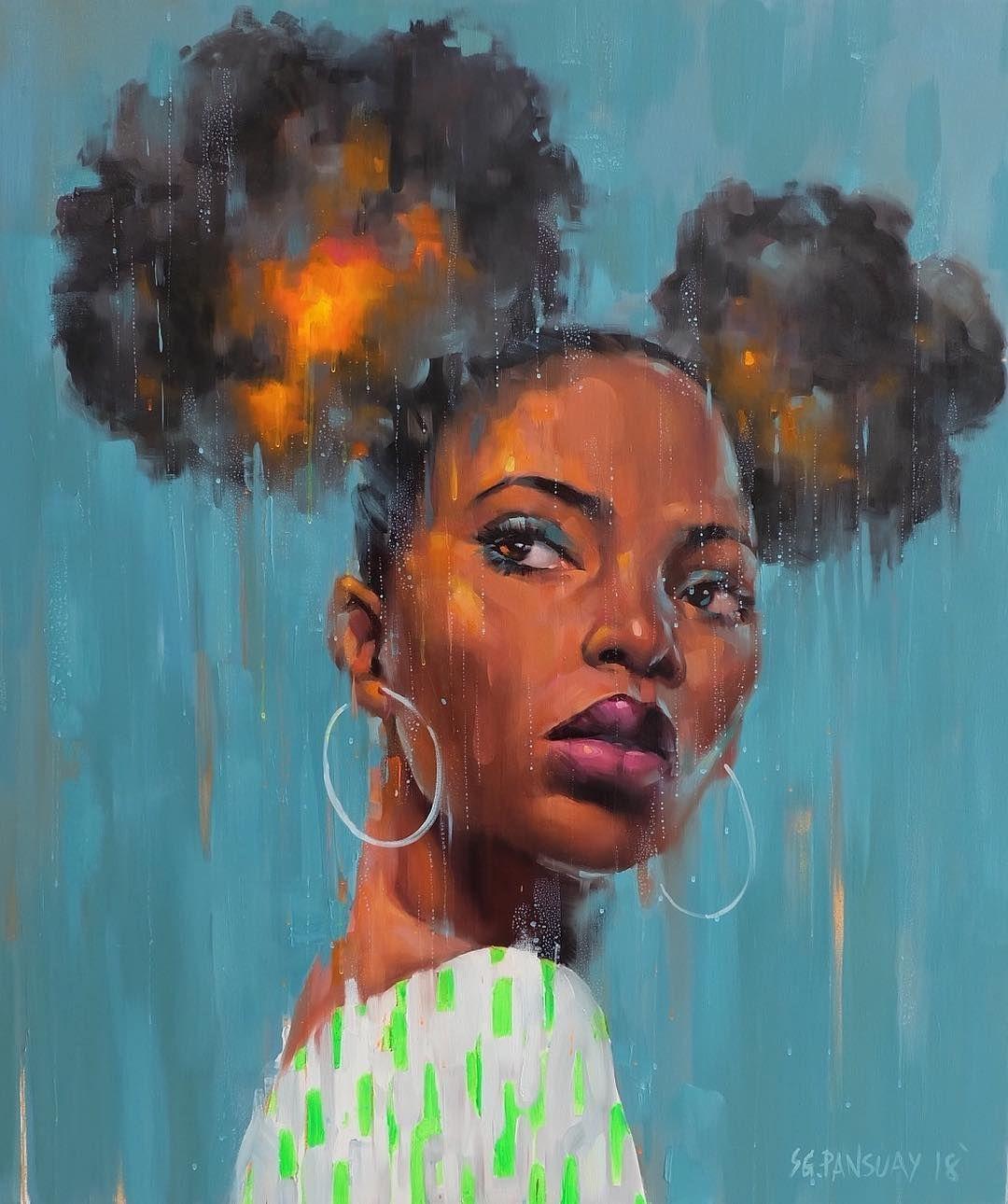 Woman With Buns 110x130 Cm Sold Art Images Black