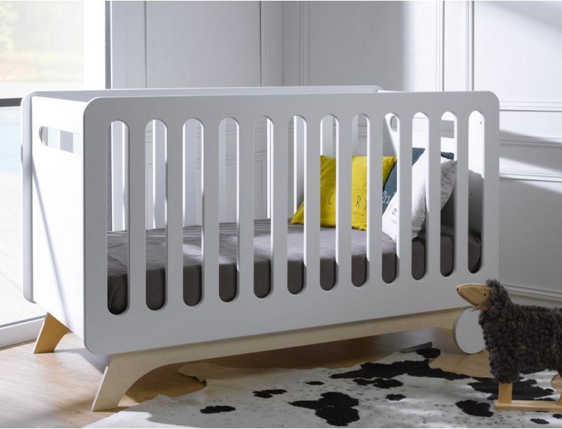 lit volutif b b bonheur blanc bouleau 70x140 1 1 3. Black Bedroom Furniture Sets. Home Design Ideas