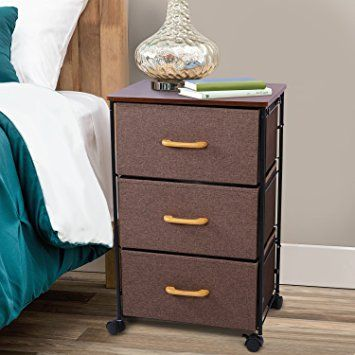 Lifewit Contemporary Night Stand Rolling End Table 3 Drawers Heavy Duty Bedside Storage Cabinet For B Contemporary Nightstand Modern Nightstand Bedside Storage