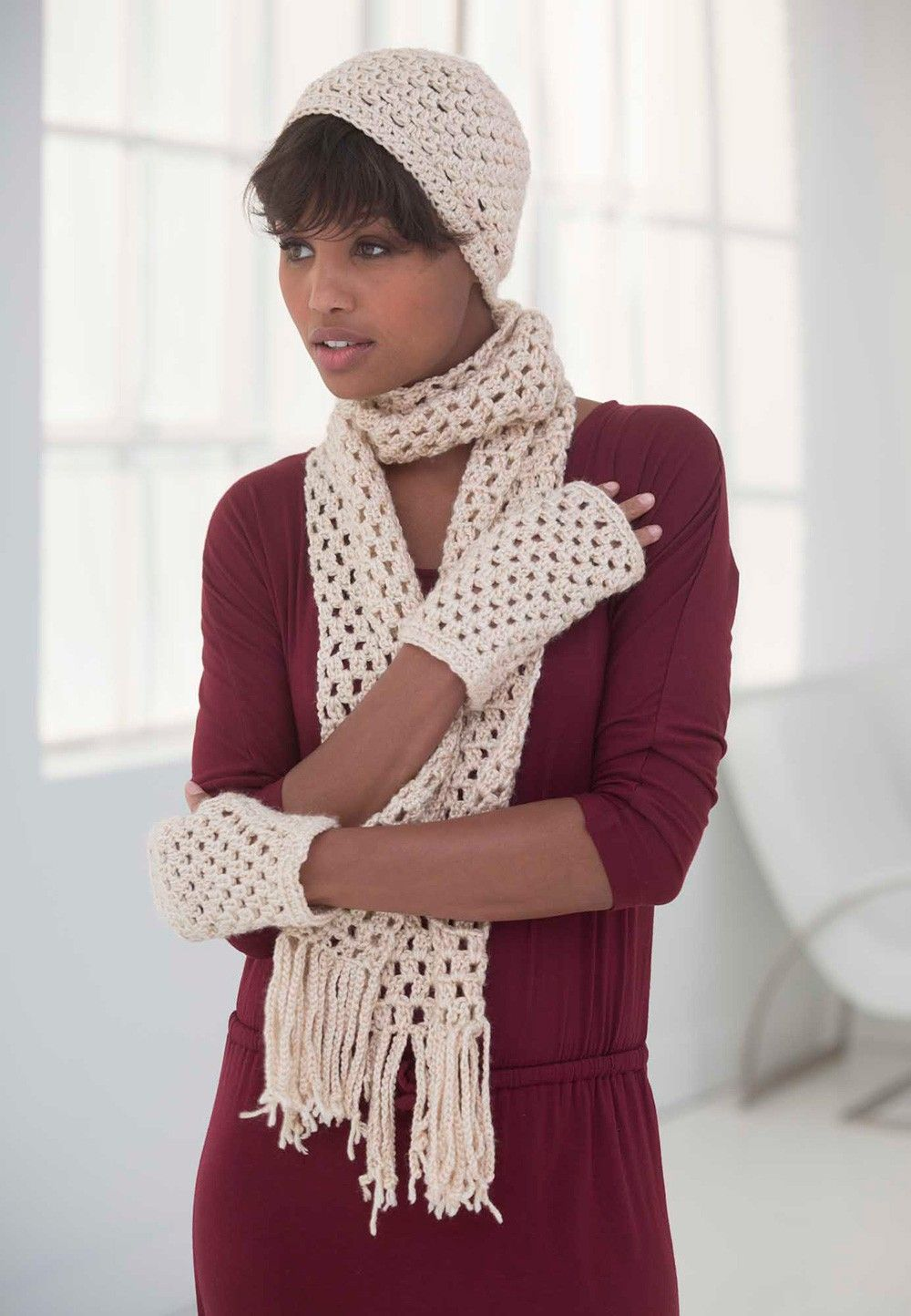 Simply Basic Hat Scarf And Gloves Set Pattern Crochet Patterns Lion Brand Yarn Crochet Scarves Crochet Hat And Scarf Sets