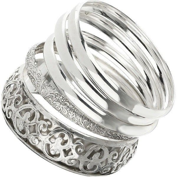 silver filigree bangle set liked on polyvore polyvore