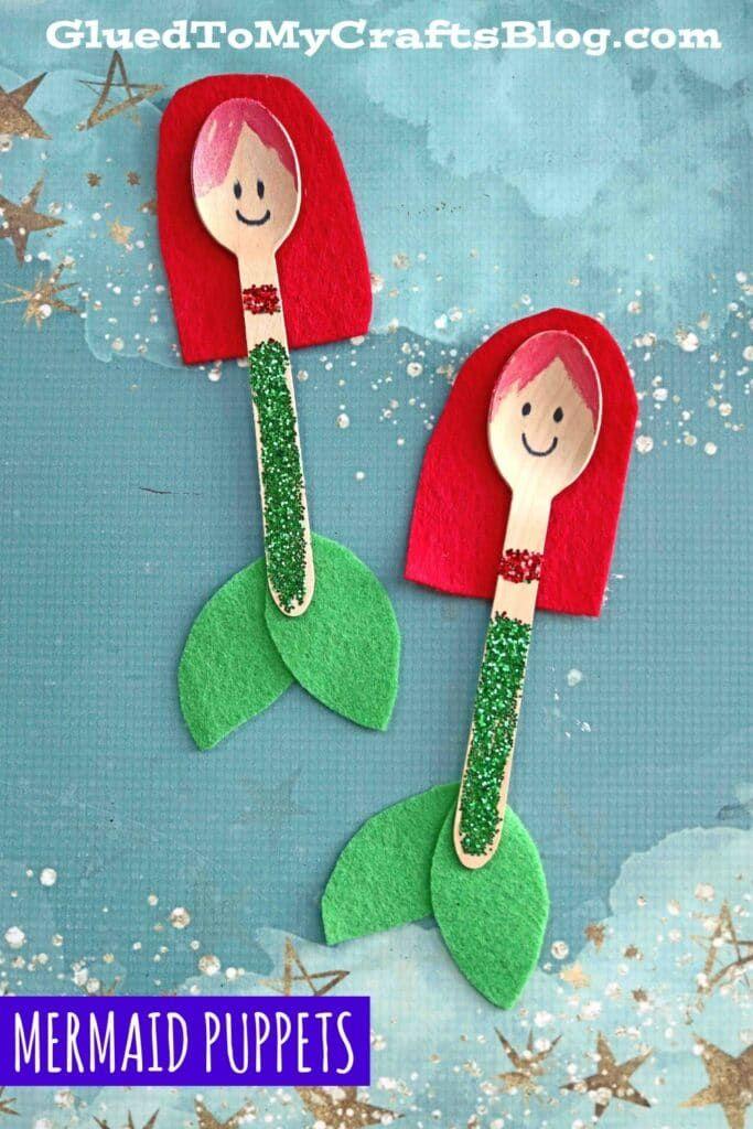 Wooden Spoon Mermaid - Kid Craft Idea For Summer