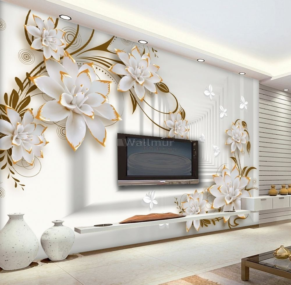 Lily Floral With Abstract Corridor Wallpaper Mural In 2021 3d Wallpaper Living Room Wallpaper Living Room Wallpaper Designs For Walls 3d wallpaper home decor