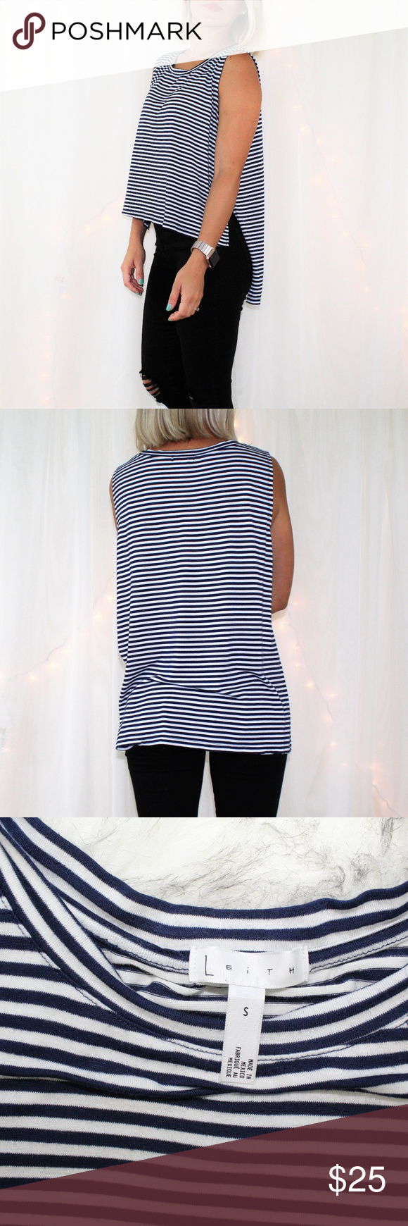 LEiTH Blue & White Striped High Low Muscle Tank Nautical look Can also be worn with legging Side hem slits Loose fit In very good condition No stains, tears or piling Size-Small Color-White and Navy From Smoke Free Home  I'm Always Open To Reasonable Offers Via Offer Button Or Click