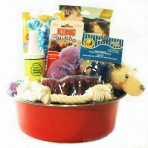 naughty paws new puppy survival kit gift basket rocco