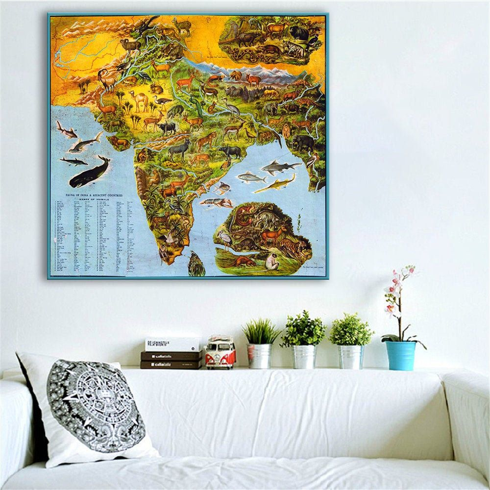 Vintage India map art, map of India illustrating animals, India map poster, Wildlife of India, Fauna of India, India wall map, India gifts.
