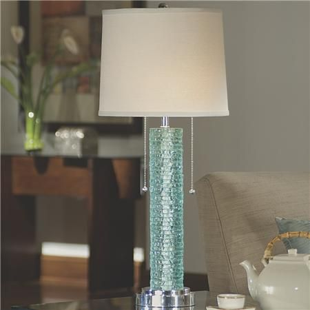 Elegant Stacked Aqua Glass Table Lamp