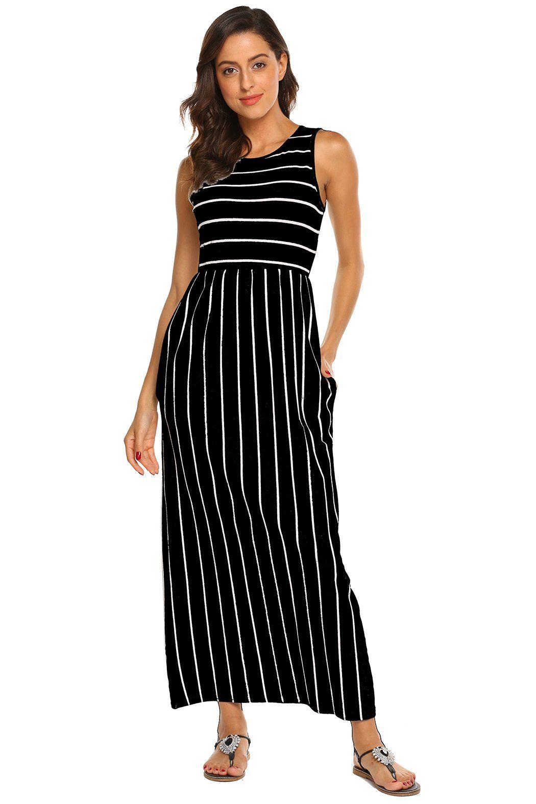 Womens Sleeveless Round Neck Striped Tank Maxi Dress With Pockets Black Large Click On The Image For Additional Long Maxi Dress Maxi Dress Maxi Tank Dress [ 1575 x 1050 Pixel ]