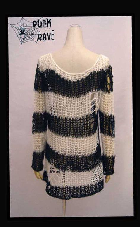 Punk Gothic Cosplay Nana Lolita Fashion Striped Visual Kei Knit Sweater Cardigan