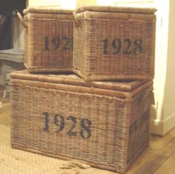 Rustic Vintage Rattan Trunks   Set Of 3 Storage Chests