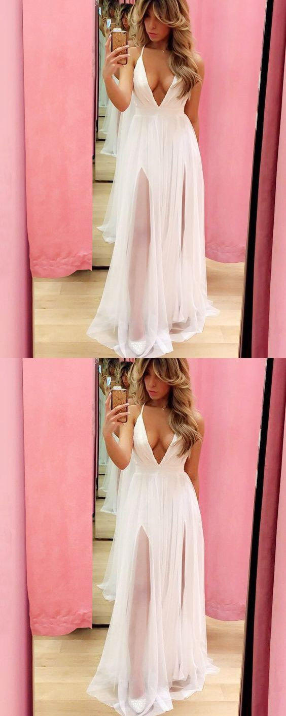 White Prom Dress, Sexy Long Prom Dresses, Sleeveless Deep V Neck ...