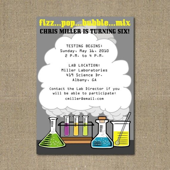 science party themed invitation | party invitations | pinterest, Party invitations