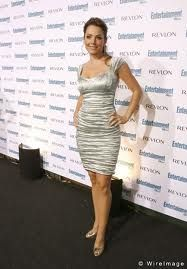 Erica Durance in Shimmery Ruched Dress