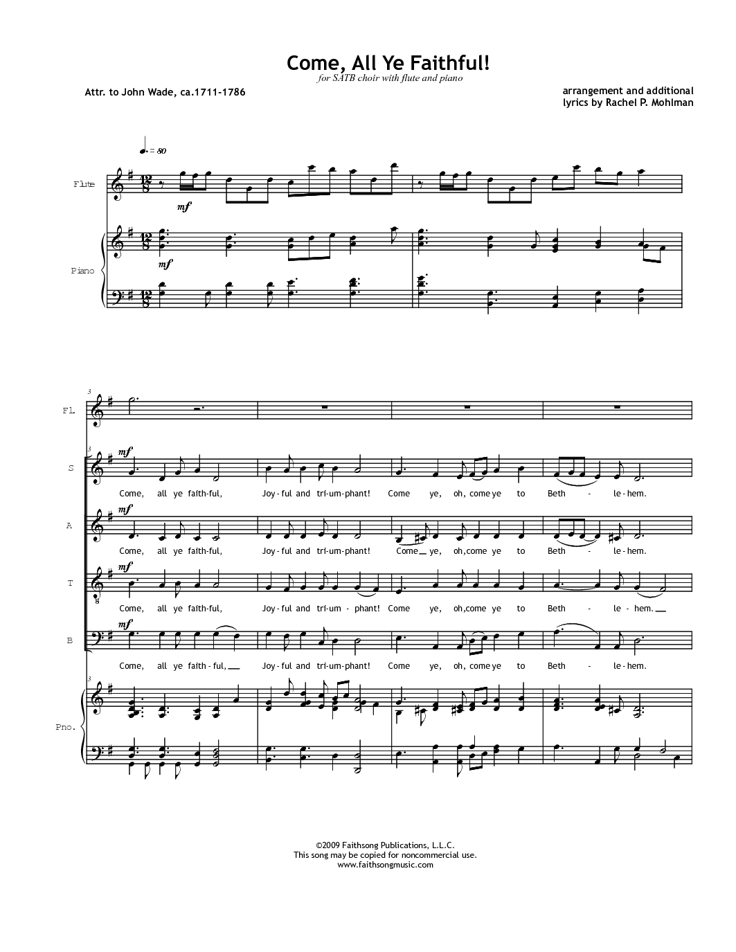 Oh, Come, All ye Faithful.  Arr Rachel P. Mohlman.  SATB w Flute.  FREE.  Christmas