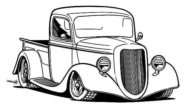Pick Up Hot Rod Cars Coloring Pages Cars Coloring Pages Truck Coloring Pages Car Drawing Kids