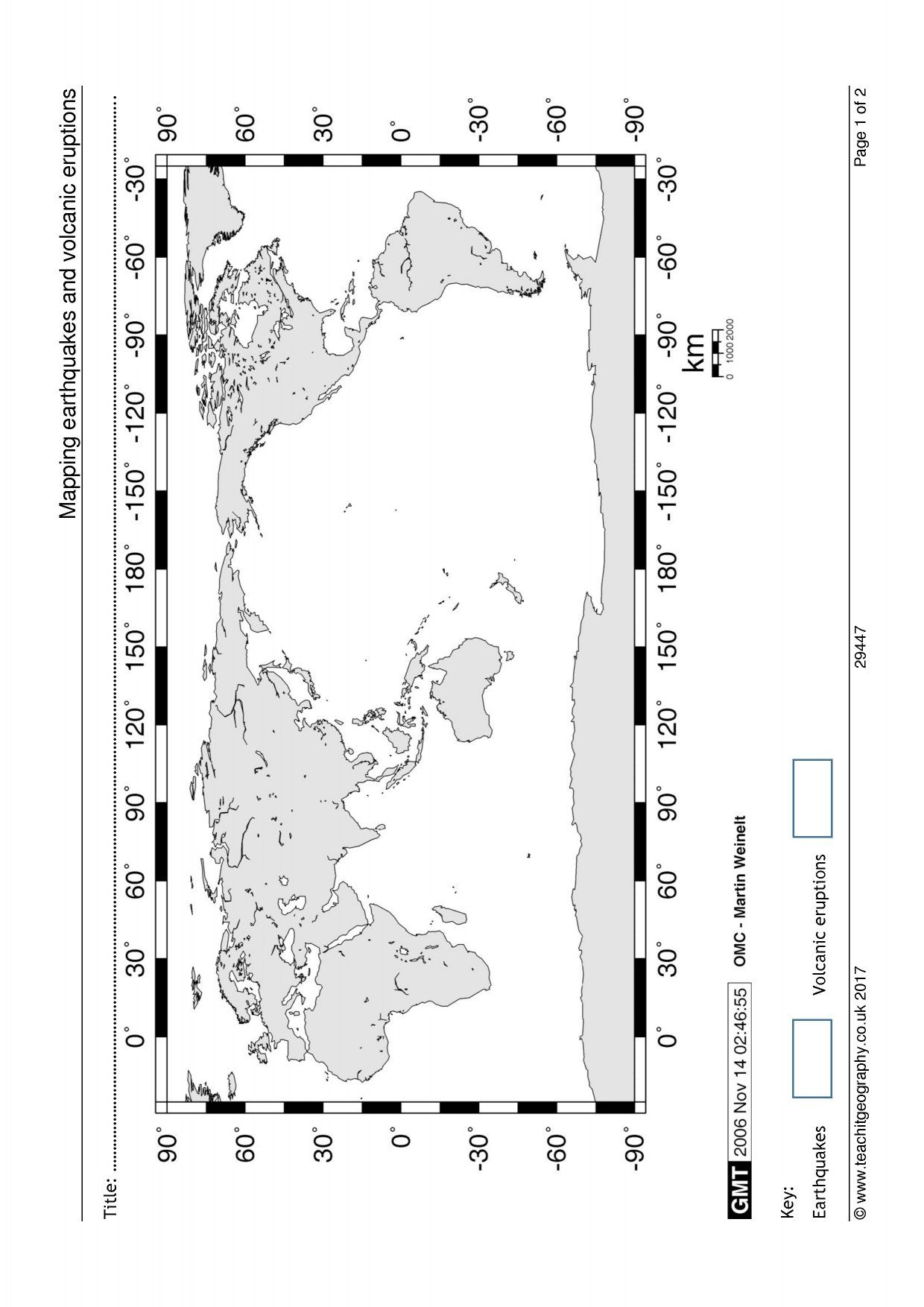 Mapping Earthquakes And Volcanic Eruptions