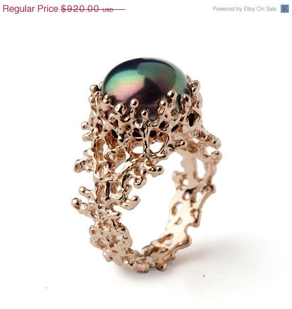 CORAL Black Pearl Ring, Black Pearl Engagement Ring, Rose Gold Engagement Ring, Rose Gold Pearl Ring, Rose Gold Ring, Ocean Ring, Mermaid #planningyourday