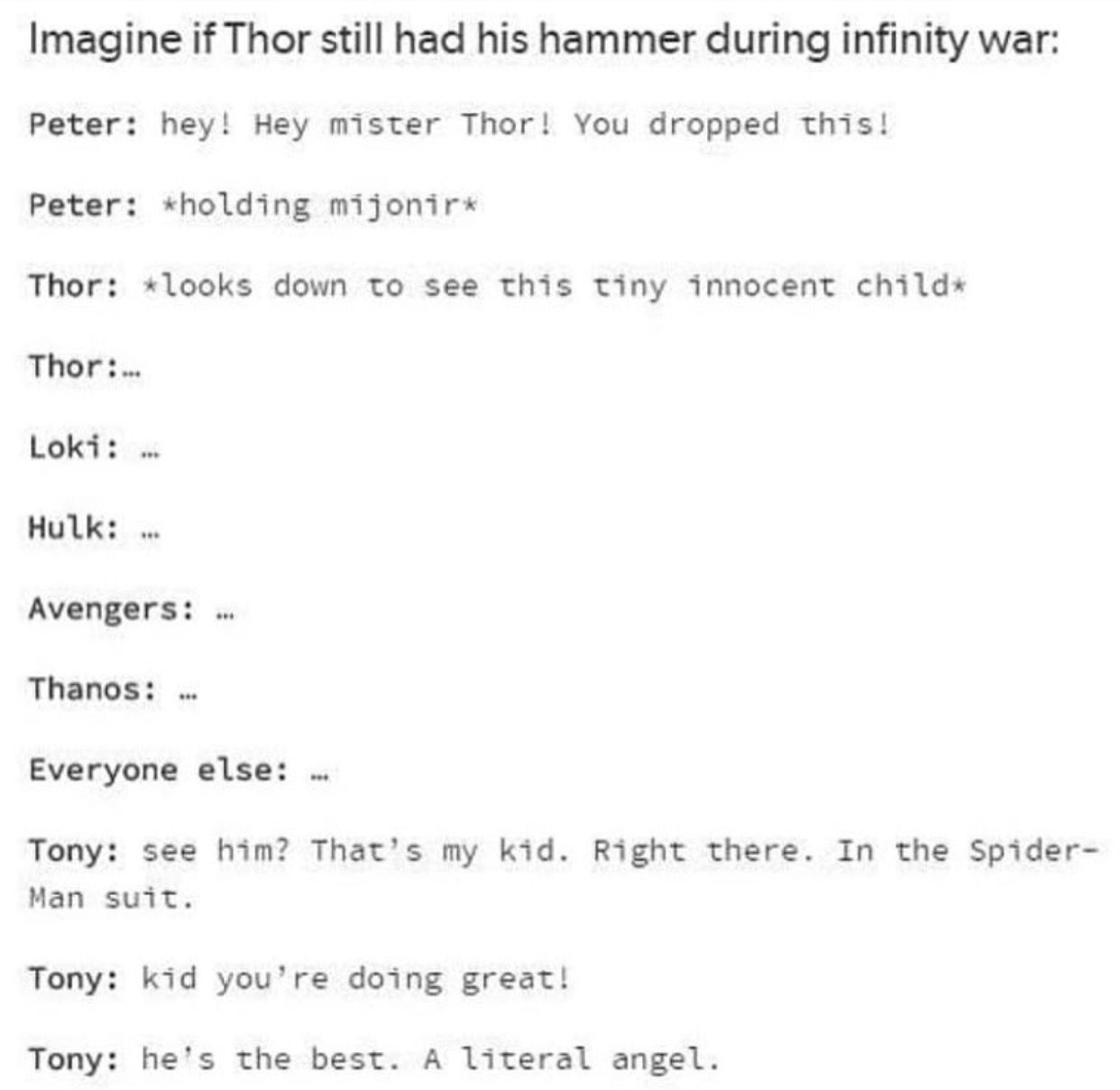 Peter lifts Thor's hammer and Tony is a proud father lol