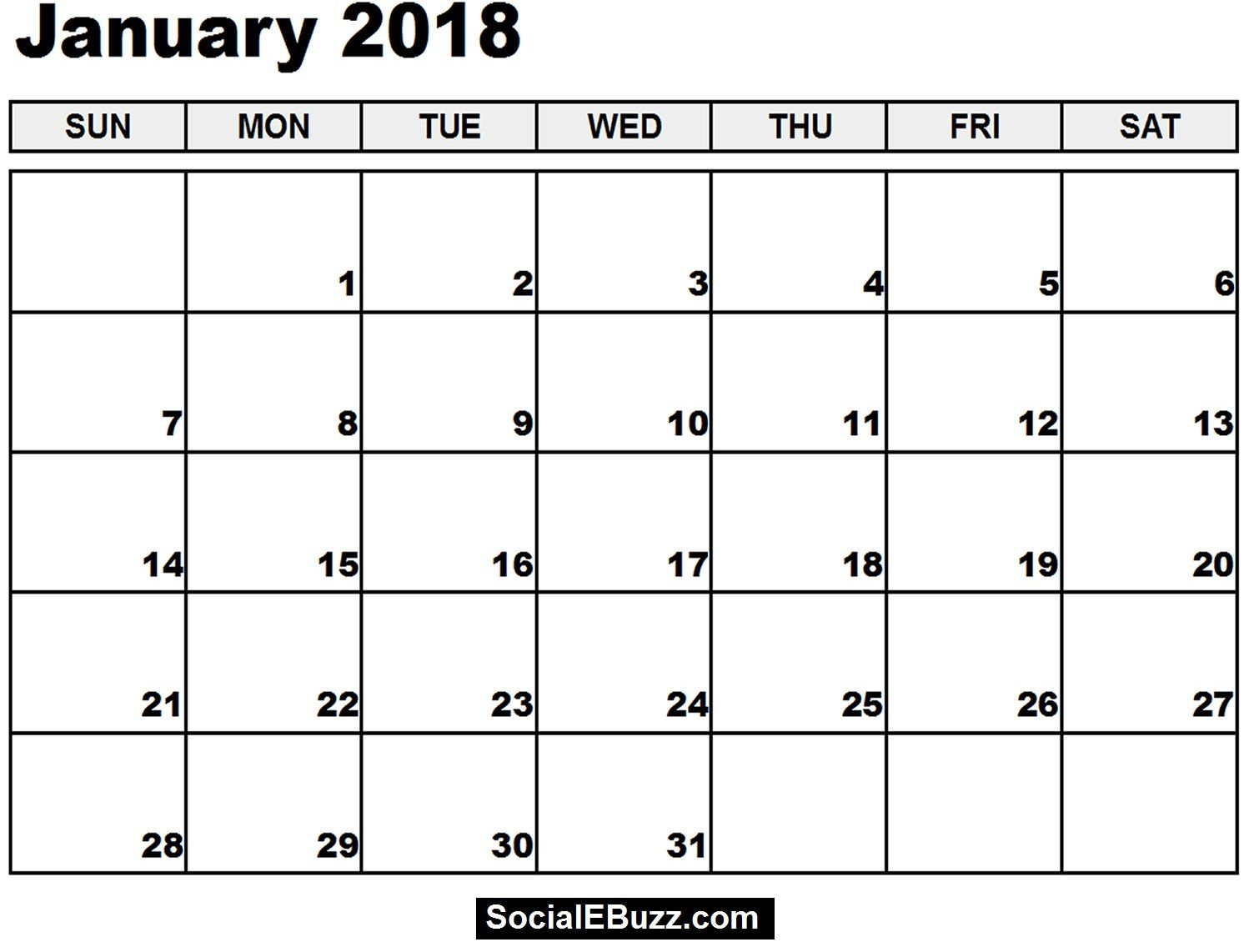 January 2018 Calendar Printable Template, January Calendar 2018 , 2018  January Calendar , January Calendar