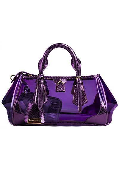 318435eadd86 Spring 2013 Burberry Blaze bag in see through nylon with tonal metallic  python trim.