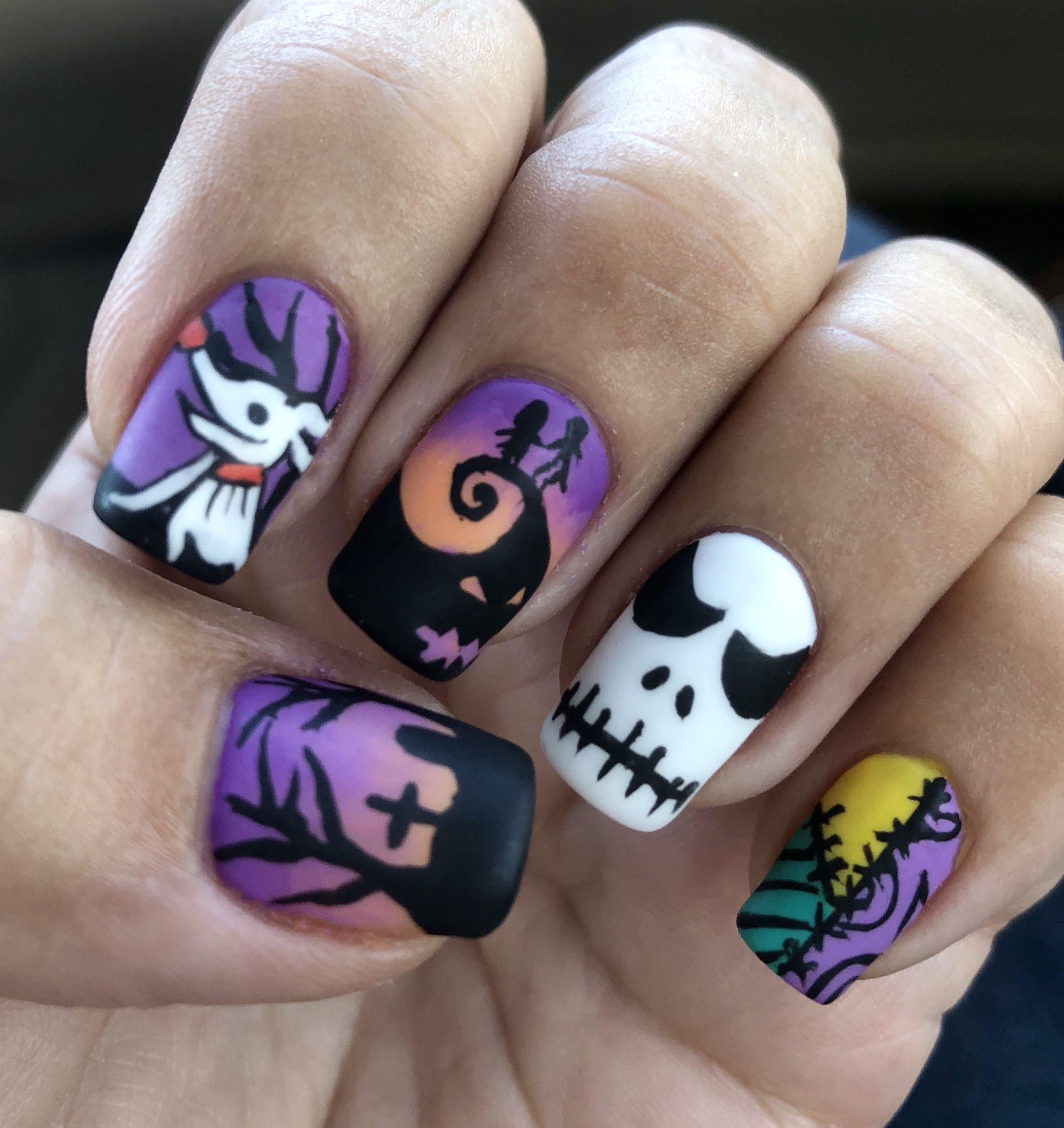 Halloween gel nails #disneynails # ...