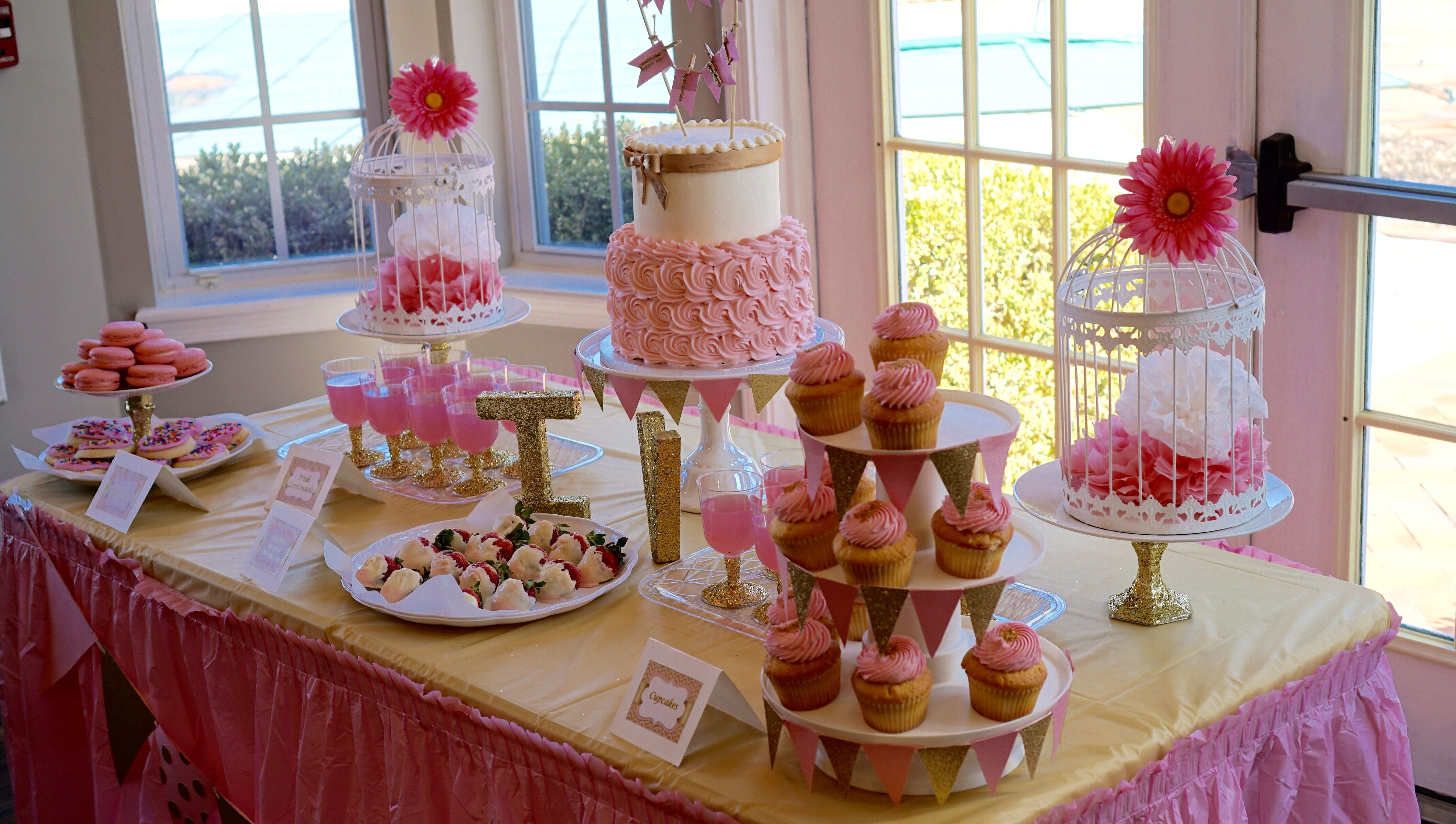 Pink And Gold Dessert Table For Baby Shower Gold Dessert Table Gold Dessert Gold Baby Showers