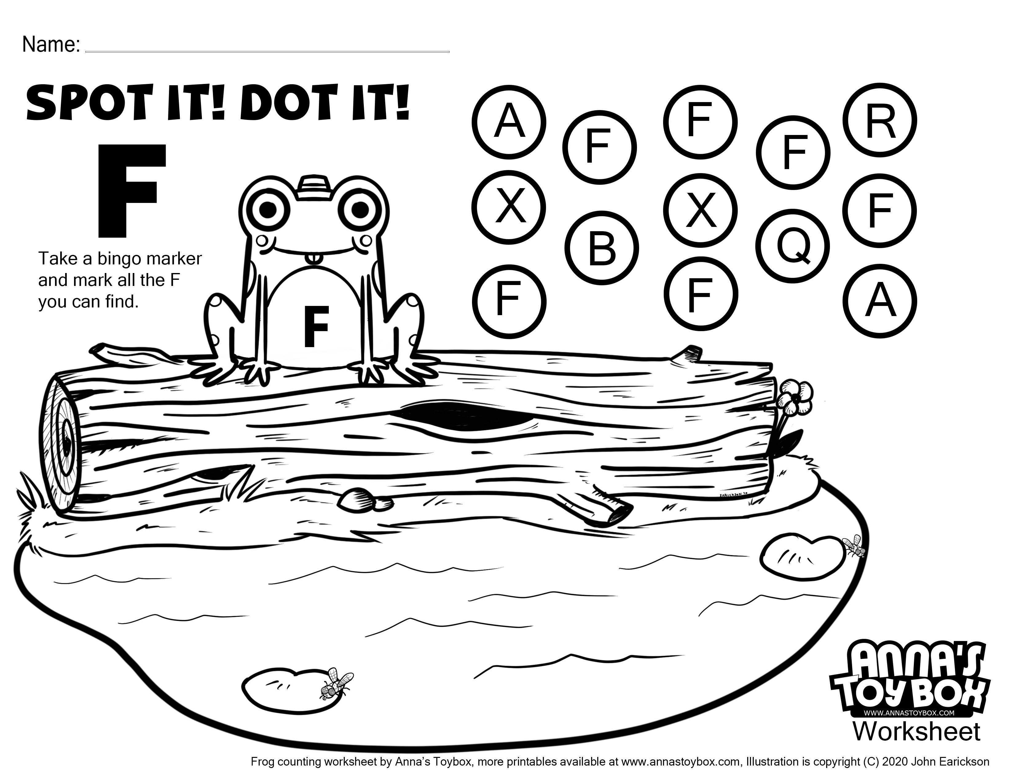 Frog Pre K Spot The F Worksheet In