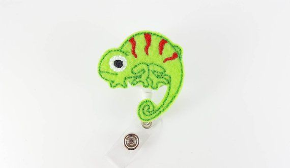 Chameleon - Felt Badge Reel - Retractable Badge - Cute Badge
