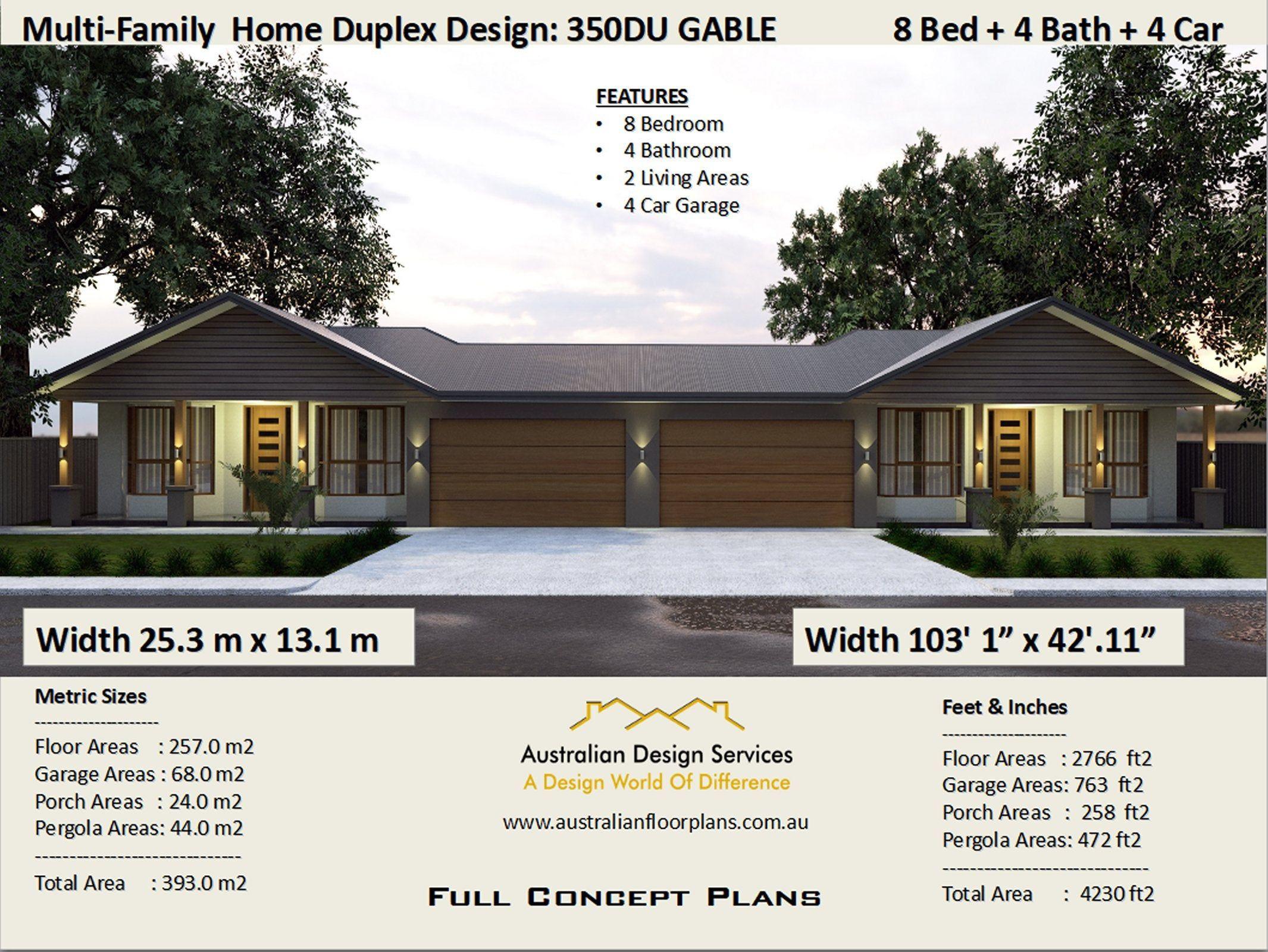 Multi Family Duplex House Plans 8 Bedroom Home Modern Duplex Etsy In 2021 Duplex House Plans House Plans For Sale Duplex Design
