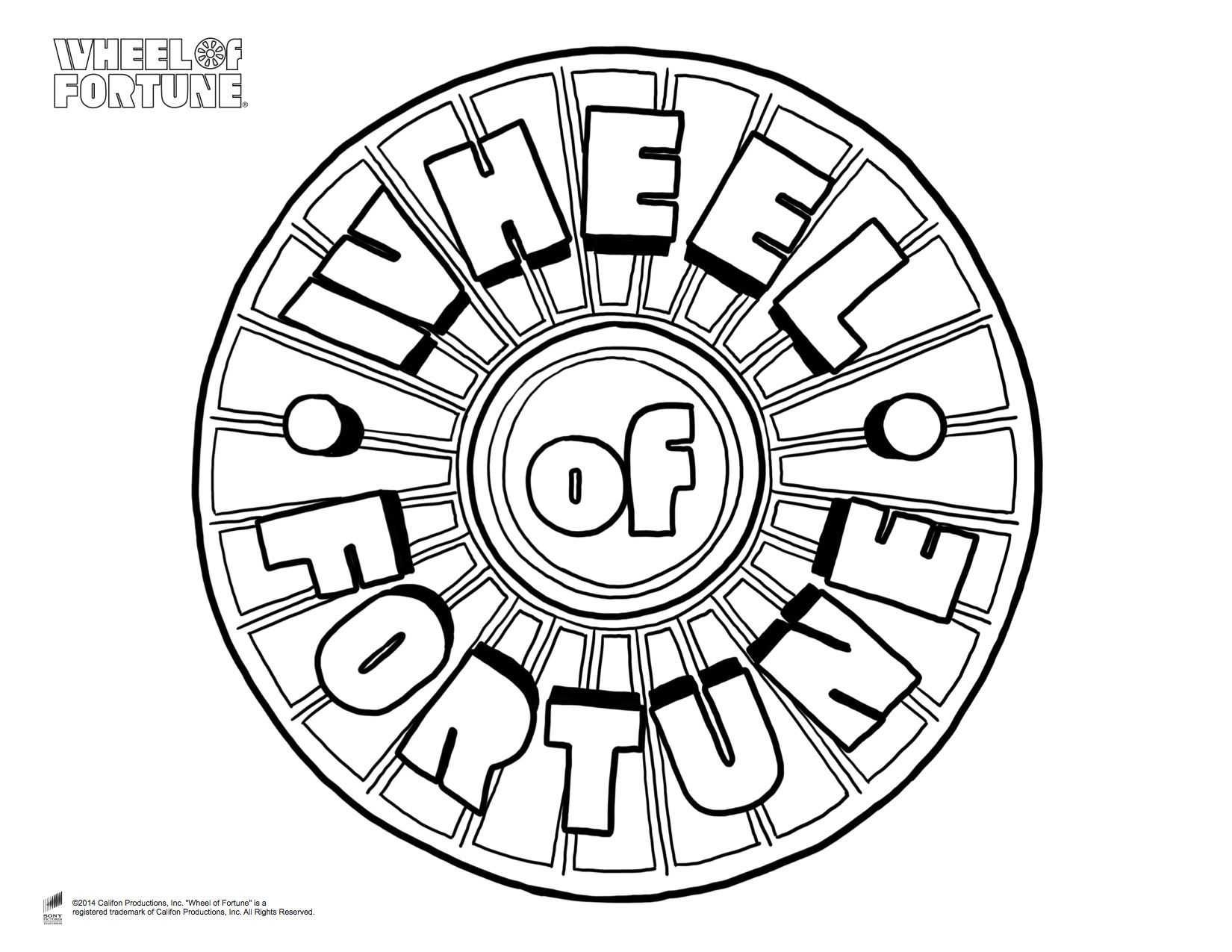 Wheel Of Fortune Coloring Page