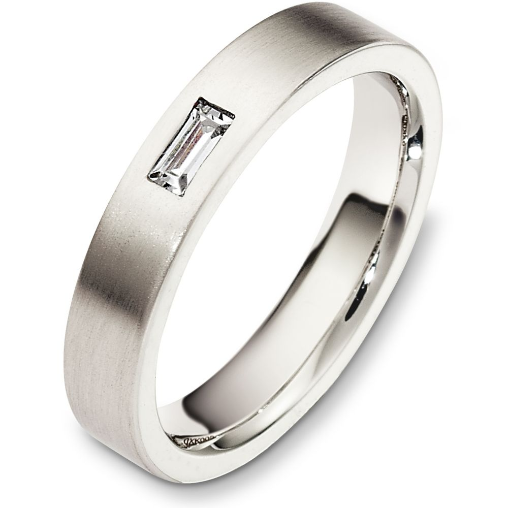 4mm Flat Style 14 Karat White Gold Diamond Wedding Band