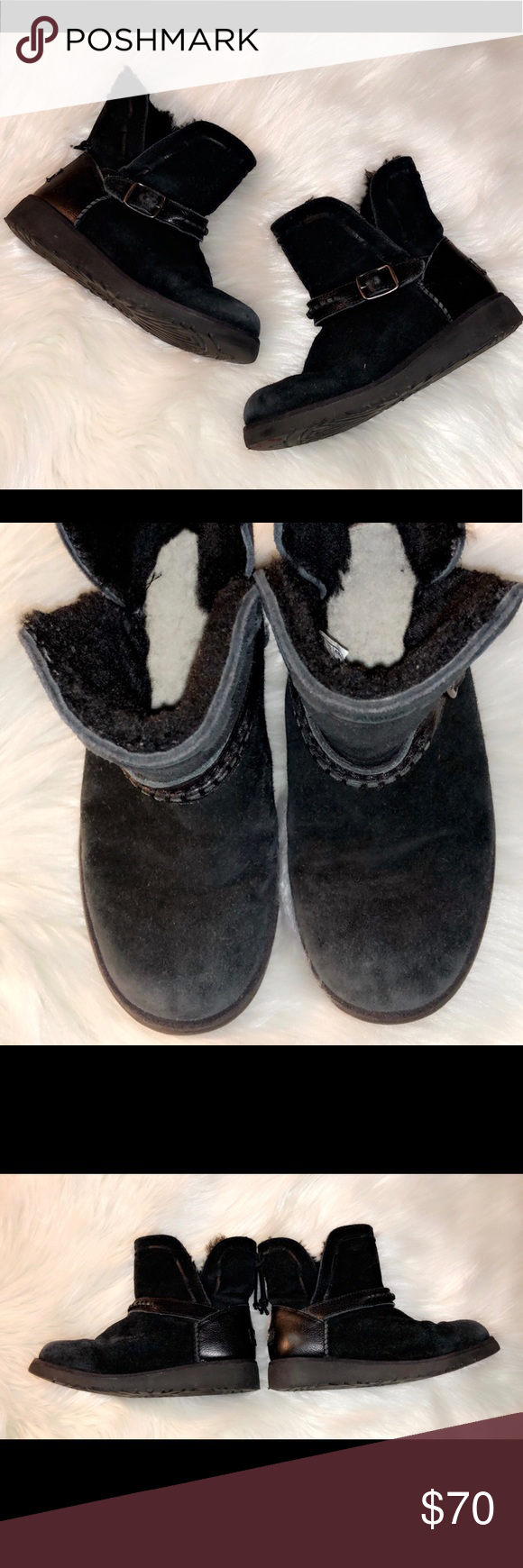 UGG Black Boots Pre worn in good condition girls UGG boots. Black color. Leather belt detail and black leather heel patch. Only a few small flaws visible in pictures, but have lots of life left in them! Item#1313 UGG Shoes Boots #uggbootsoutfitblackgirl UGG Black Boots Pre worn in good condition girls UGG boots. Black color. Leather belt detail and black leather heel patch. Only a few small flaws visible in pictures, but have lots of life left in them! Item#1313 UGG Shoes Boots #uggbootsoutfitblackgirl