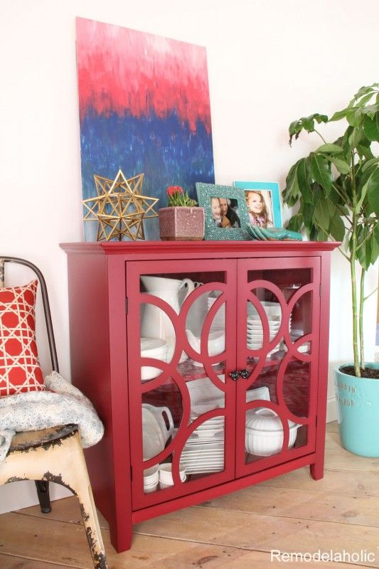 I love this red cabinet, perfect dining room buffet to display ...