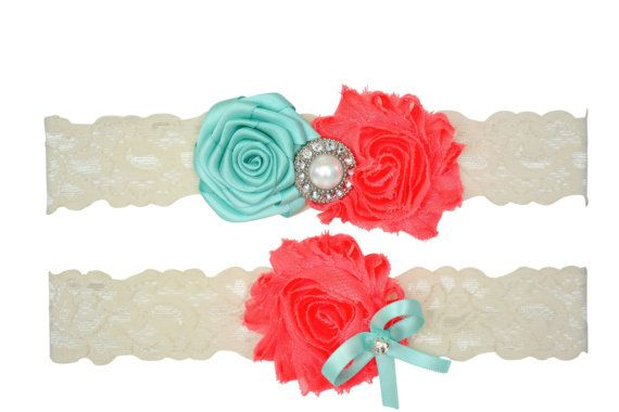 Aqua Blue Coral Ivory White Lace Bridal Garter by ContessaGarters