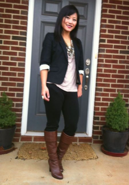 Wearing: An easy look with Ann Taylor and brown boots | Black ...