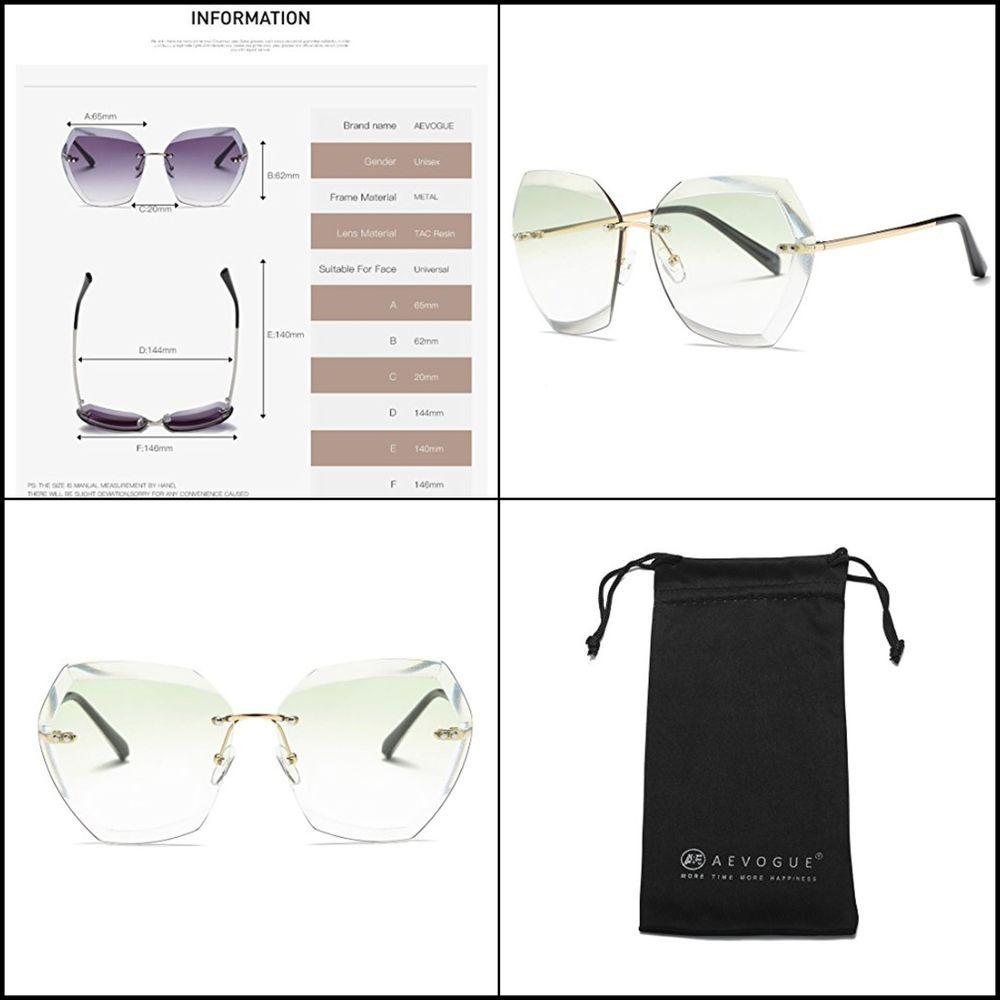 1aabea7c6c4 Women Sunglasses Oversized Rimless Diamond Cutting Lens Sun Glasses  Gold green