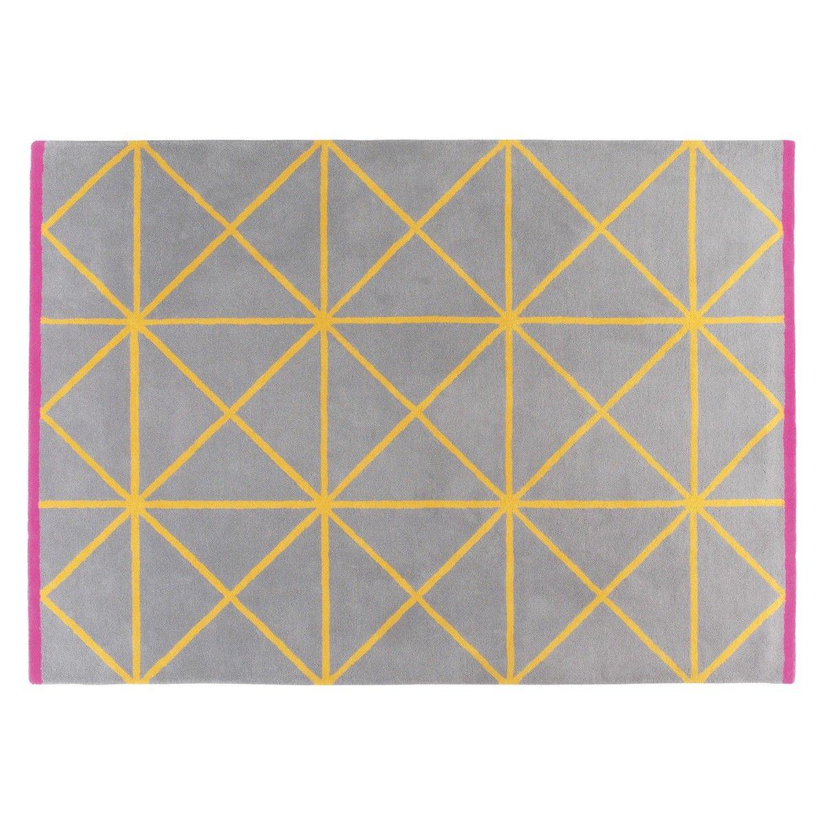 Grid Medium Grey And Yellow Geometric Wool Rug 140 X 200cm Now At Habitat