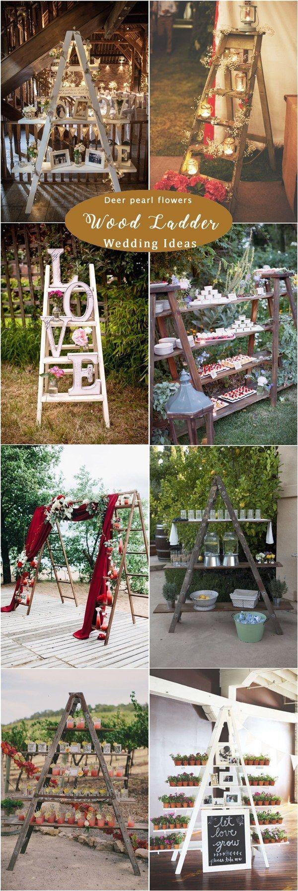 English wedding decoration ideas  Rustic wooden ladder wedding decor ideas