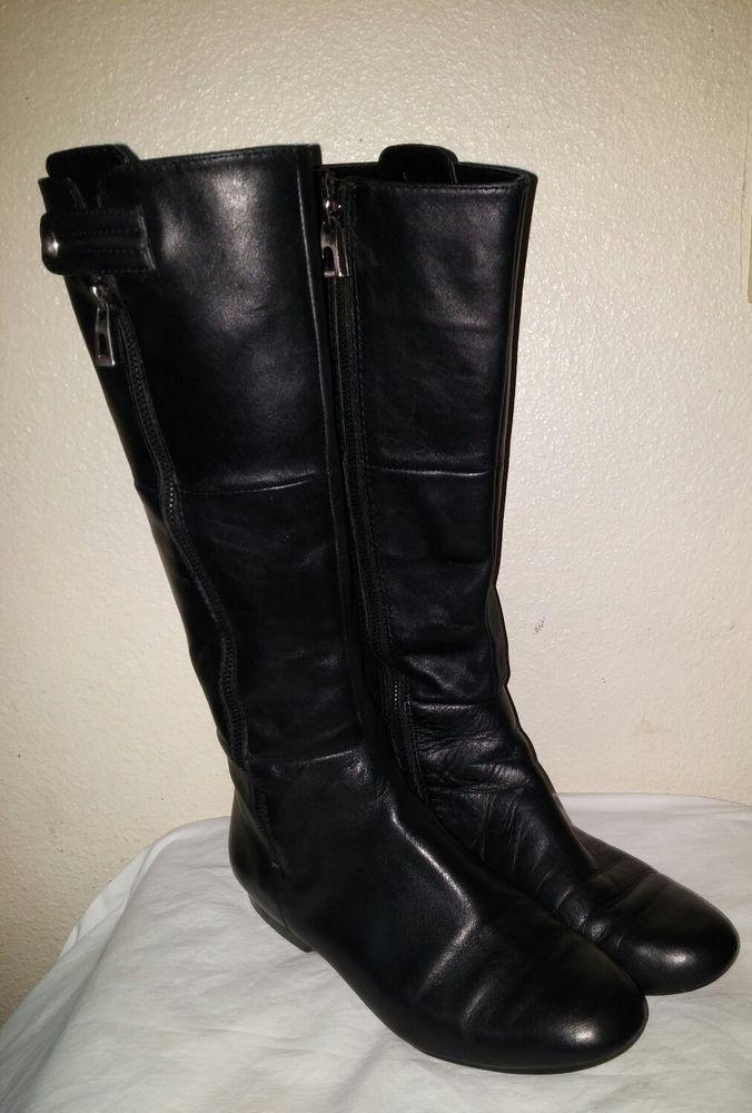 Women s Enzo Angiolini Zayra black leather knee high riding boots flat zip  SZ-7.  EnzoAngiolini  KneeHighBoots  any 8fb79e577d09